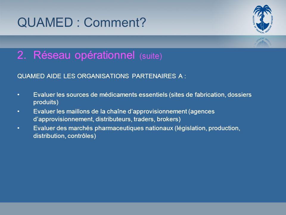 2.Réseau opérationnel (suite) QUAMED AIDE LES ORGANISATIONS PARTENAIRES A : Evaluer les sources de médicaments essentiels (sites de fabrication, dossi