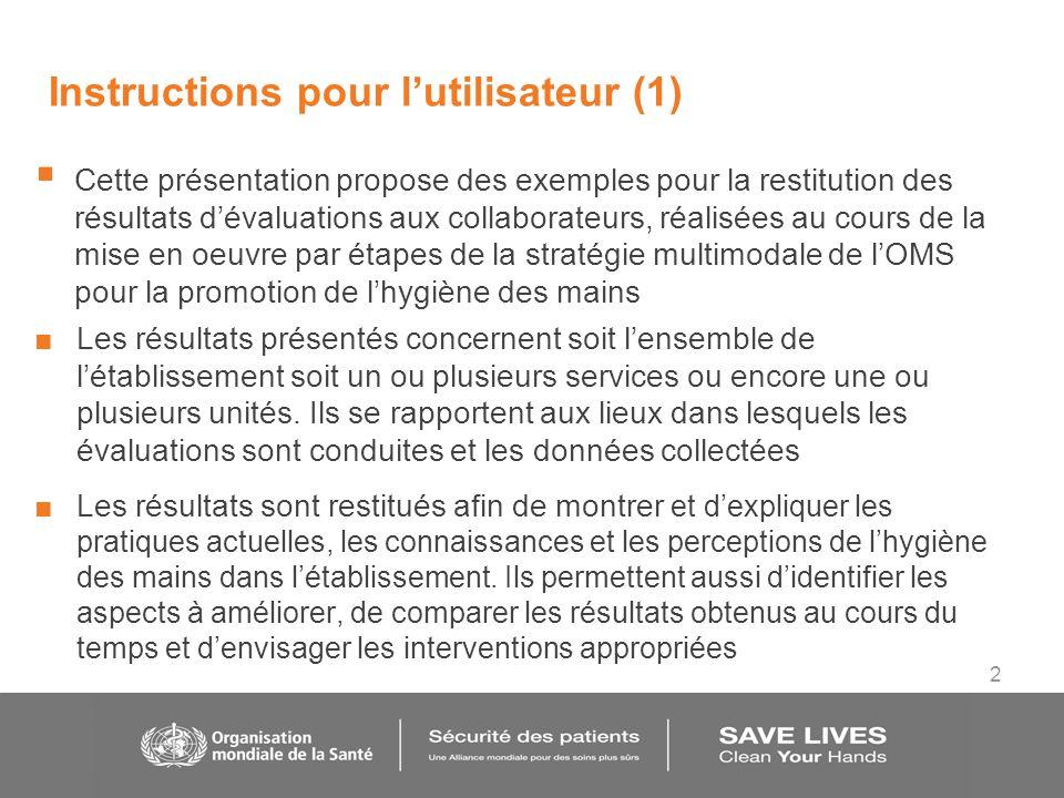 2 Instructions pour lutilisateur (1) Cette présentation propose des exemples pour la restitution des résultats dévaluations aux collaborateurs, réalis
