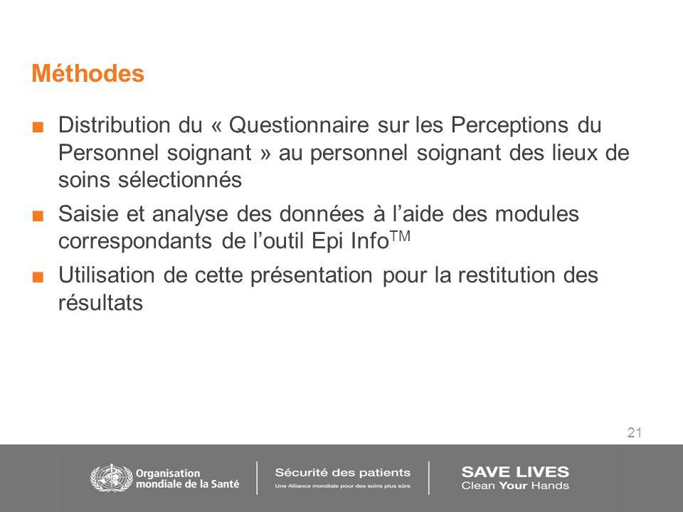 21 Méthodes Distribution du « Questionnaire sur les Perceptions du Personnel soignant » au personnel soignant des lieux de soins sélectionnés Saisie e