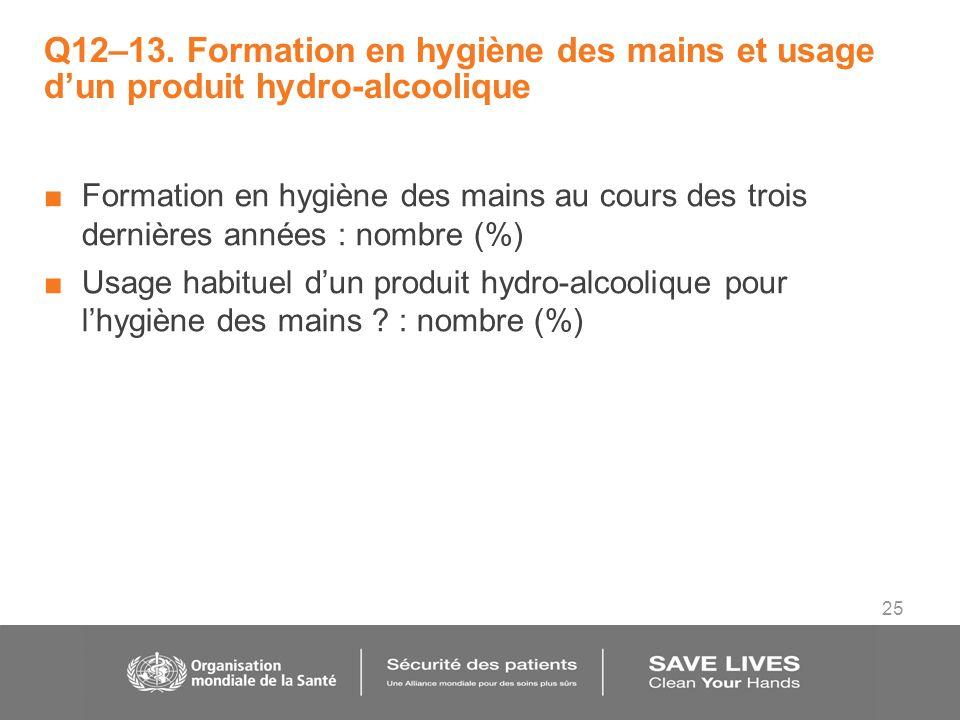 25 Q12–13. Formation en hygiène des mains et usage dun produit hydro-alcoolique Formation en hygiène des mains au cours des trois dernières années : n