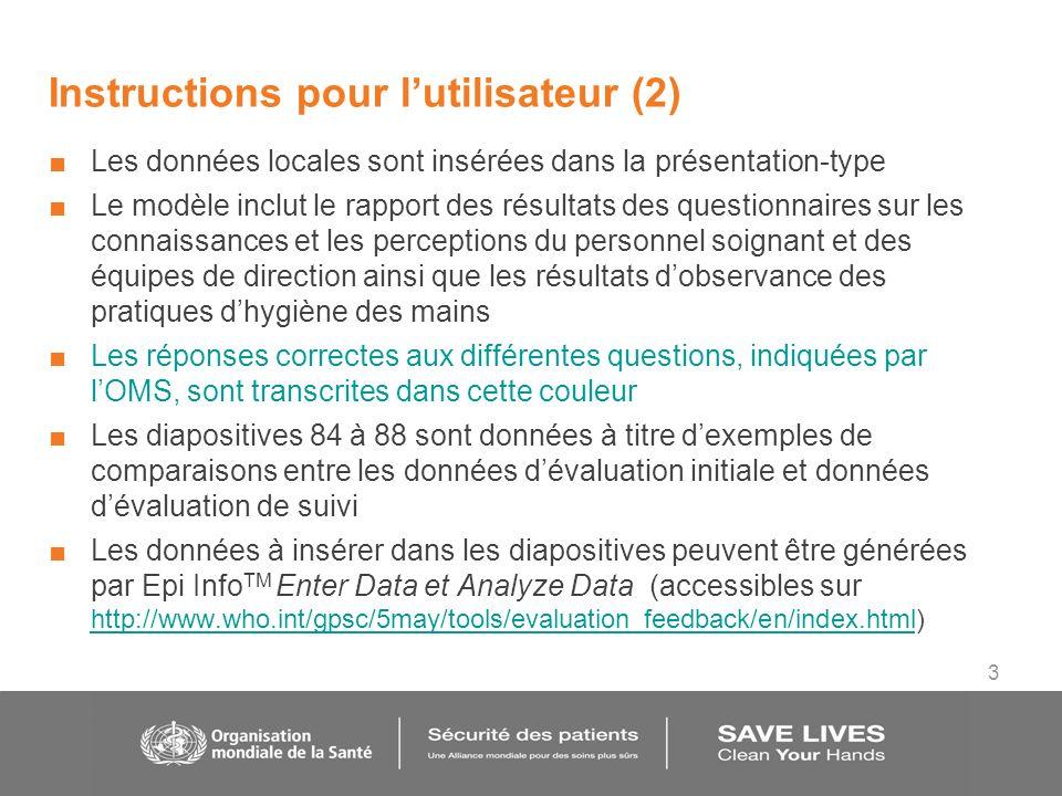 3 Instructions pour lutilisateur (2) Les données locales sont insérées dans la présentation-type Le modèle inclut le rapport des résultats des questio