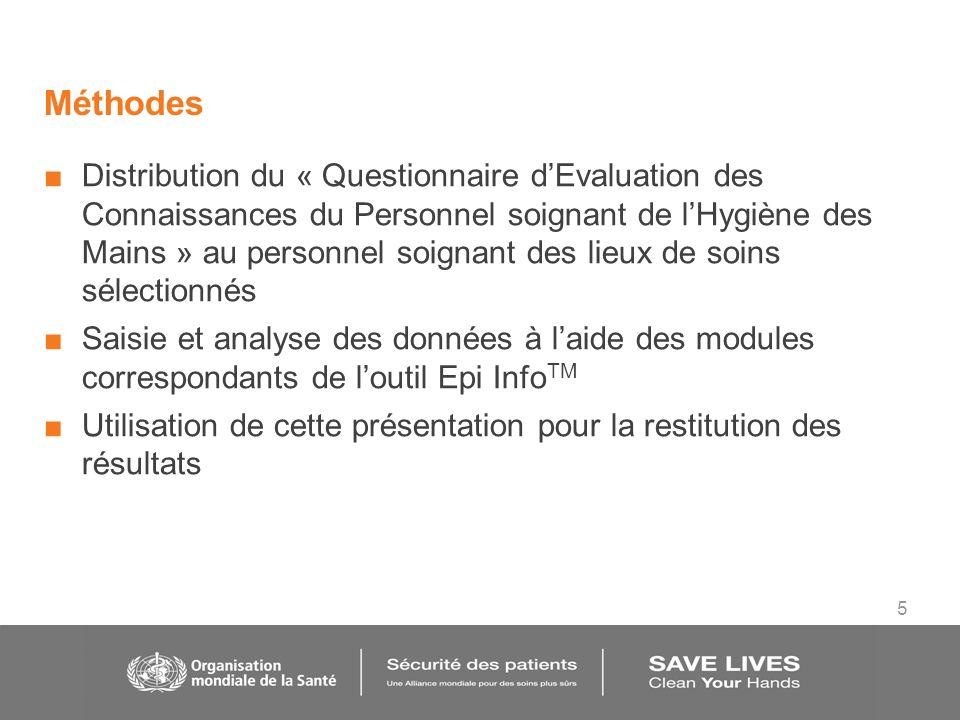 5 Méthodes Distribution du « Questionnaire dEvaluation des Connaissances du Personnel soignant de lHygiène des Mains » au personnel soignant des lieux