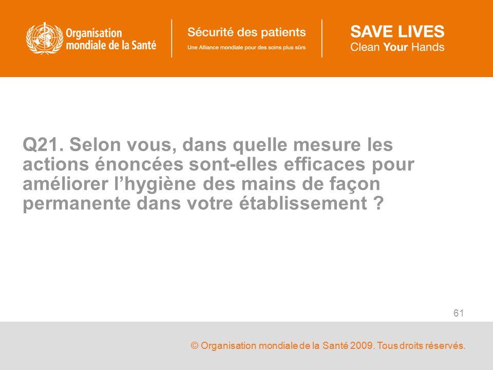 © Organisation mondiale de la Santé 2009. Tous droits réservés. 61 Q21. Selon vous, dans quelle mesure les actions énoncées sont-elles efficaces pour