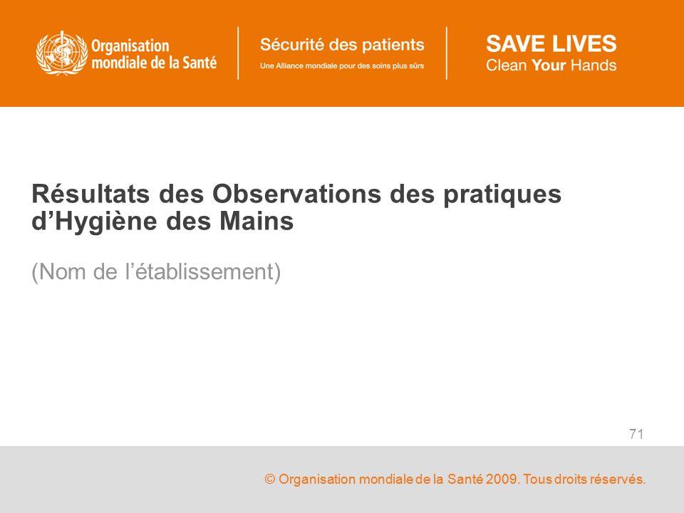 © Organisation mondiale de la Santé 2009. Tous droits réservés. 71 Résultats des Observations des pratiques dHygiène des Mains (Nom de létablissement)