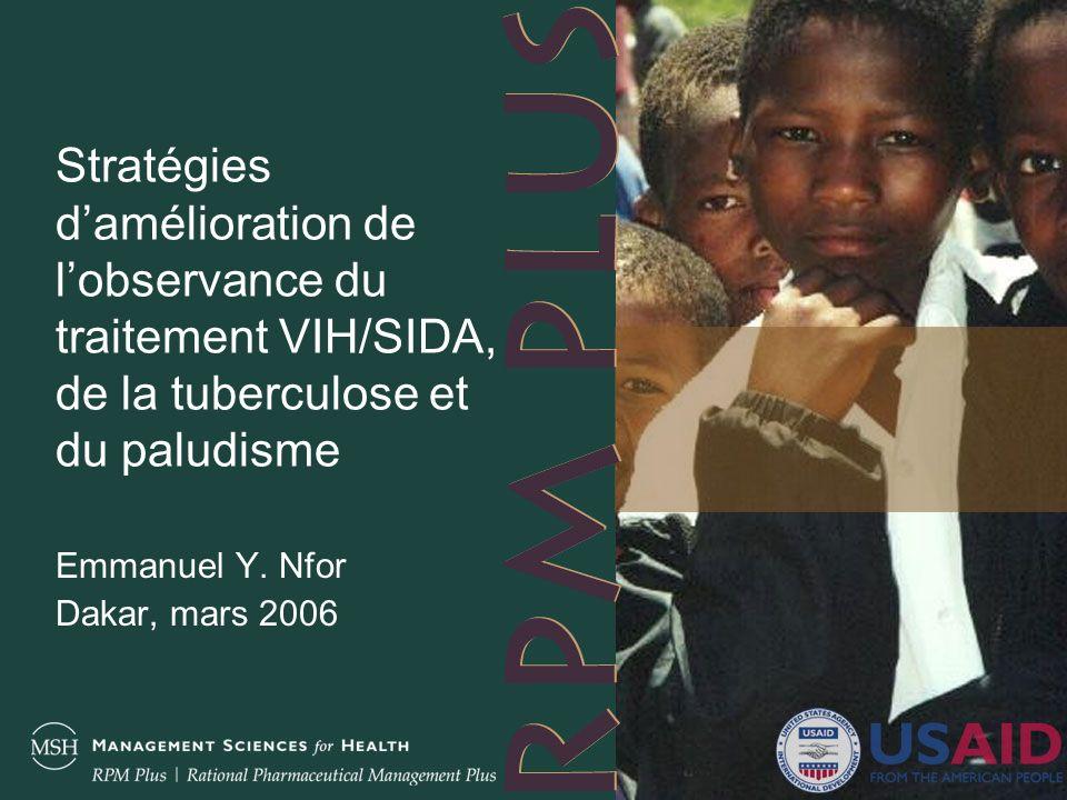 3 Plan de la présentation Définition de lobservance Méthodes de mesure de lobservance Expériences dobservance VIH/SIDA Tuberculose Paludisme Conséquences dune observance médiocre Stratégies damélioration de lobservance Conclusion