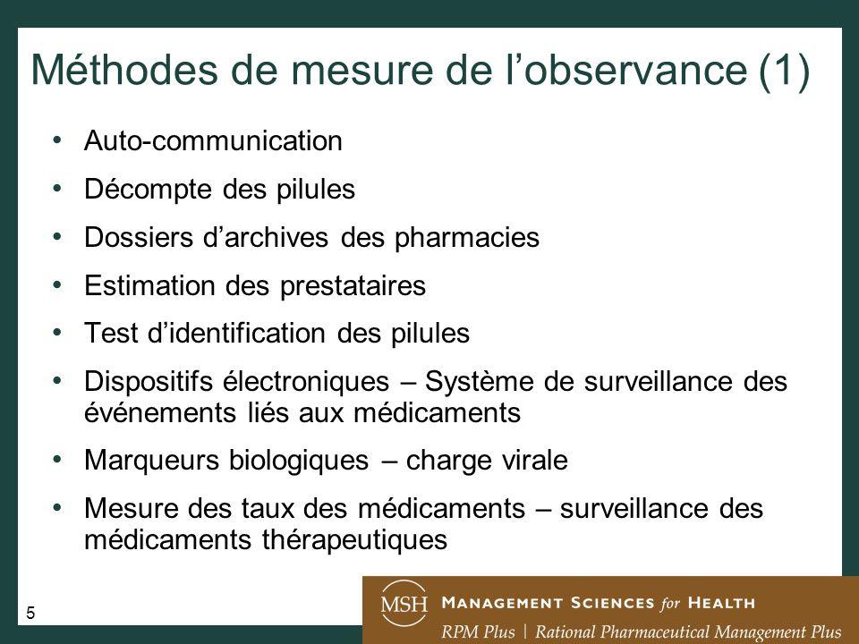 26 Lobservance, en résumé Une excellente observance est la clé de la réussite dun traitement du VIH/SIDA, de la tuberculose et du paludisme.