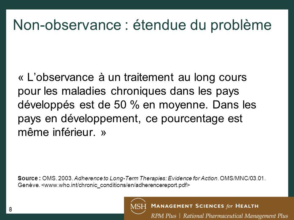 9 Observance à la prise de traitement antirétroviral (TAR): quel est le degré dobservance nécessaire pour obtenir des résultats optimaux .