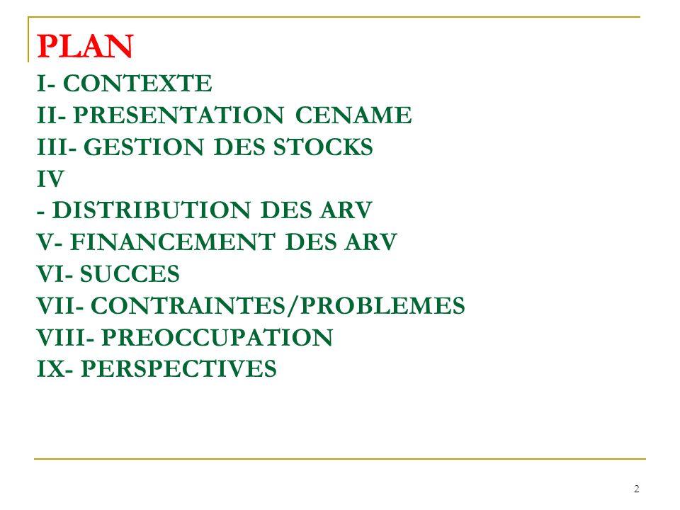 2 PLAN I- CONTEXTE II- PRESENTATION CENAME III- GESTION DES STOCKS IV - DISTRIBUTION DES ARV V- FINANCEMENT DES ARV VI- SUCCES VII- CONTRAINTES/PROBLEMES VIII- PREOCCUPATION IX- PERSPECTIVES