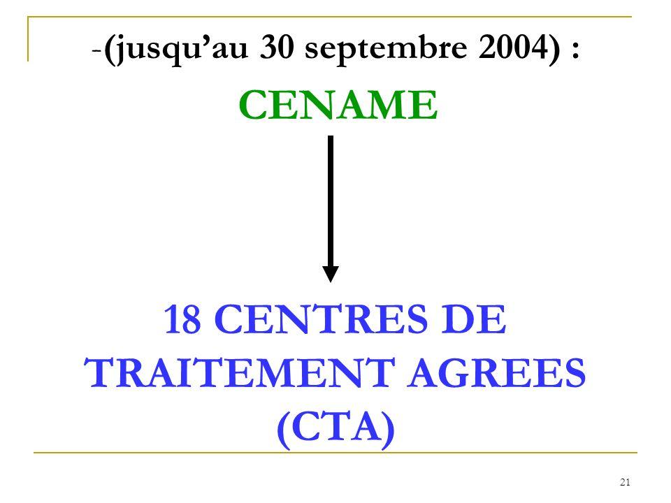 21 -(jusquau 30 septembre 2004) : CENAME 18 CENTRES DE TRAITEMENT AGREES (CTA)