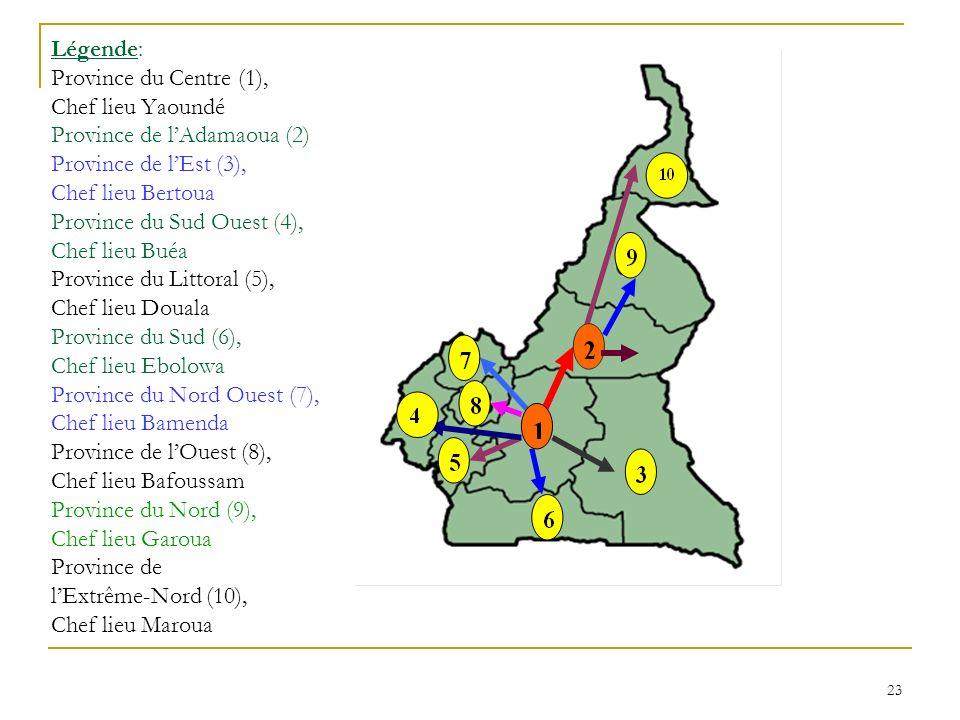 23 Légende: Province du Centre (1), Chef lieu Yaoundé Province de lAdamaoua (2) Province de lEst (3), Chef lieu Bertoua Province du Sud Ouest (4), Chef lieu Buéa Province du Littoral (5), Chef lieu Douala Province du Sud (6), Chef lieu Ebolowa Province du Nord Ouest (7), Chef lieu Bamenda Province de lOuest (8), Chef lieu Bafoussam Province du Nord (9), Chef lieu Garoua Province de lExtrême-Nord (10), Chef lieu Maroua