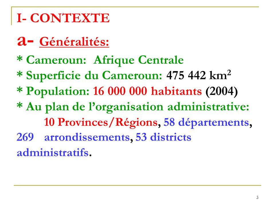 4 CONTEXTE (suite) b- Situation sanitaire: * Pyramidal à trois niveaux: central, intermédiaire, périphérique * 164 districts de santé (formations sanitaires publiques / privées / confessionnelles) * Prévalence du VIH : - 0,5% en 1987 - 11.8% suivant Etude sentinelle auprès des femmes enceintes (ONUSIDA 2003) - 5,5% Enquête réalisée dans la population générale (EDSC-III 2004)