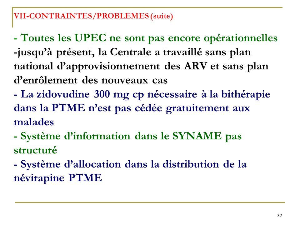 32 VII-CONTRAINTES/PROBLEMES (suite) - Toutes les UPEC ne sont pas encore opérationnelles -jusquà présent, la Centrale a travaillé sans plan national dapprovisionnement des ARV et sans plan denrôlement des nouveaux cas - La zidovudine 300 mg cp nécessaire à la bithérapie dans la PTME nest pas cédée gratuitement aux malades - Système dinformation dans le SYNAME pas structuré - Système dallocation dans la distribution de la névirapine PTME