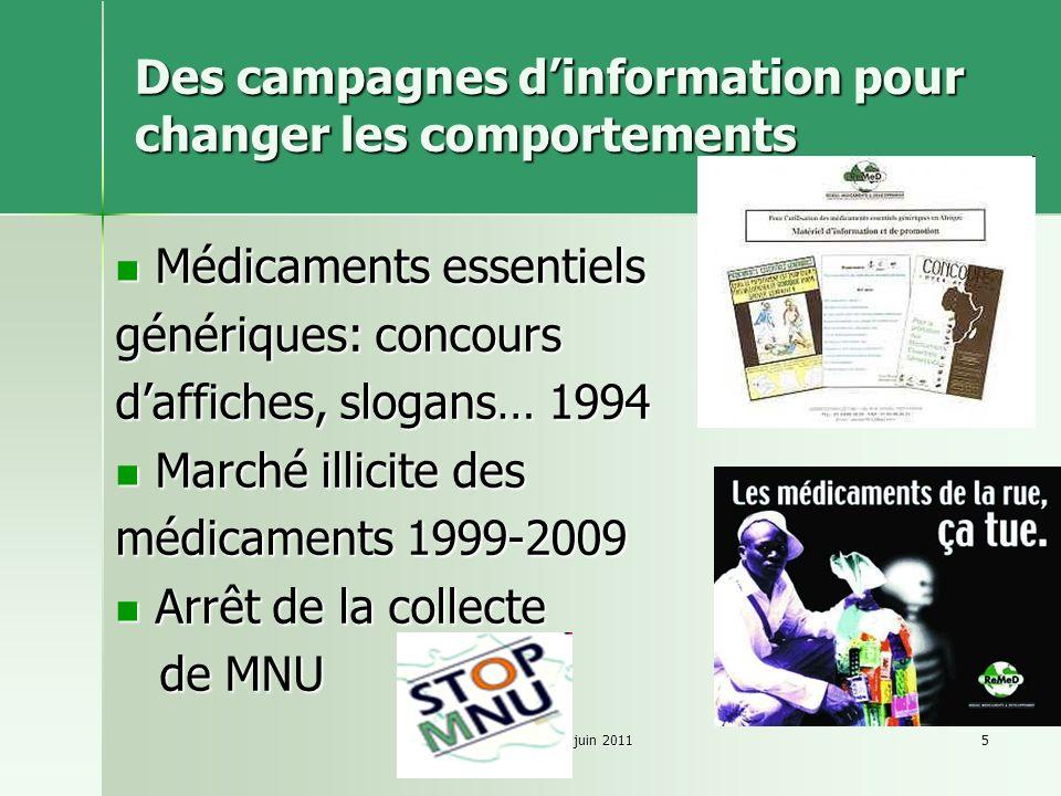 ReMeD-CB-juin 20115 Des campagnes dinformation pour changer les comportements Médicaments essentiels Médicaments essentiels génériques: concours daffi