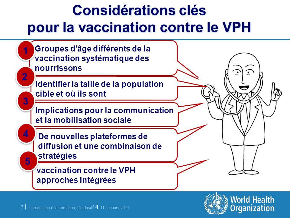 Introduction à la formation, Gardasill TM | 11 January 2014 8 |8 | Prévention et contrôle à travers le cycle de vie du cancer du col de lutérus Lien avec d autres services de santé pour les adolescents Vaccination contre le VPH : élément dune approche intégrée (1/3)