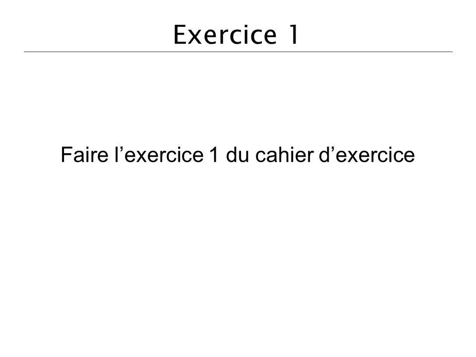 Exercice 1 Faire lexercice 1 du cahier dexercice