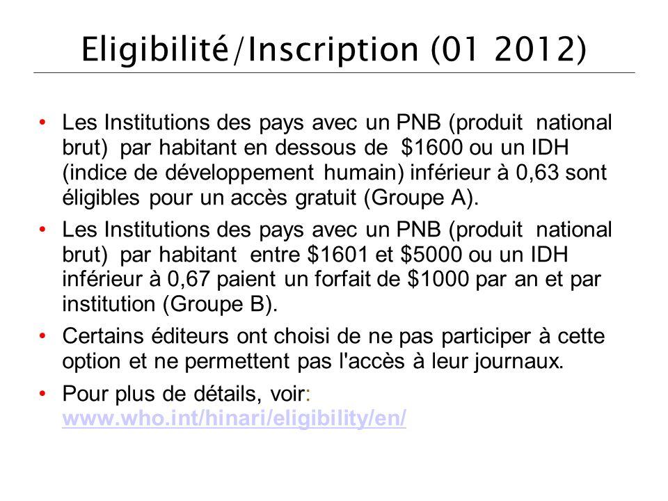 Eligibilité/Inscription (01 2012) Les Institutions des pays avec un PNB (produit national brut) par habitant en dessous de $1600 ou un IDH (indice de développement humain) inférieur à 0,63 sont éligibles pour un accès gratuit (Groupe A).