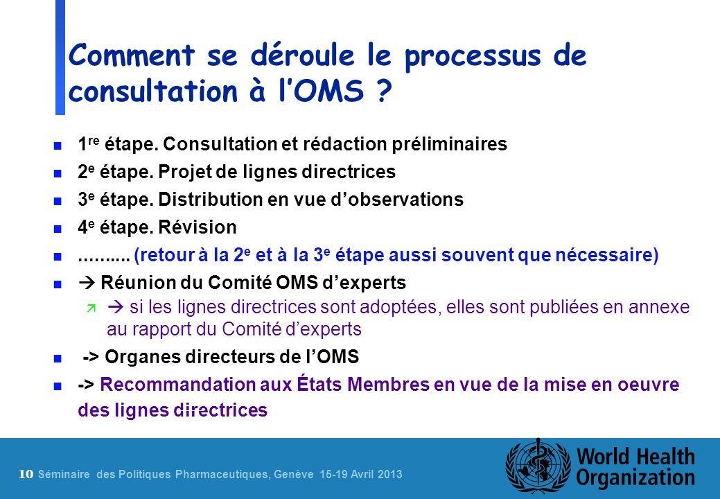 10 S éminaire des Politiques Pharmaceutiques, Genève 15-19 Avril 2013 Comment se déroule le processus de consultation à lOMS ? n 1 re étape. Consultat