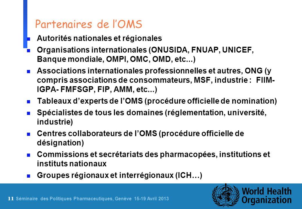 11 S éminaire des Politiques Pharmaceutiques, Genève 15-19 Avril 2013 Partenaires de lOMS n Autorités nationales et régionales n Organisations internationales (ONUSIDA, FNUAP, UNICEF, Banque mondiale, OMPI, OMC, OMD, etc...) n Associations internationales professionnelles et autres, ONG (y compris associations de consommateurs, MSF, industrie : FIIM- IGPA- FMFSGP, FIP, AMM, etc...) n Tableaux dexperts de lOMS (procédure officielle de nomination) n Spécialistes de tous les domaines (réglementation, université, industrie) n Centres collaborateurs de lOMS (procédure officielle de désignation) n Commissions et secrétariats des pharmacopées, institutions et instituts nationaux n Groupes régionaux et interrégionaux (ICH…)