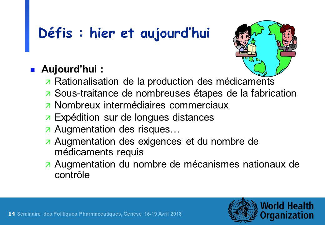 14 S éminaire des Politiques Pharmaceutiques, Genève 15-19 Avril 2013 Défis : hier et aujourdhui n Aujourdhui : ä Rationalisation de la production des