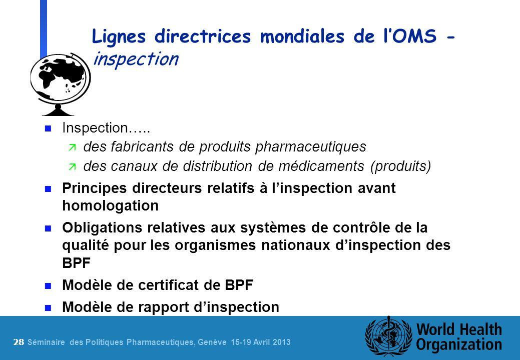 28 S éminaire des Politiques Pharmaceutiques, Genève 15-19 Avril 2013 Lignes directrices mondiales de lOMS - inspection n Inspection….. ä des fabrican