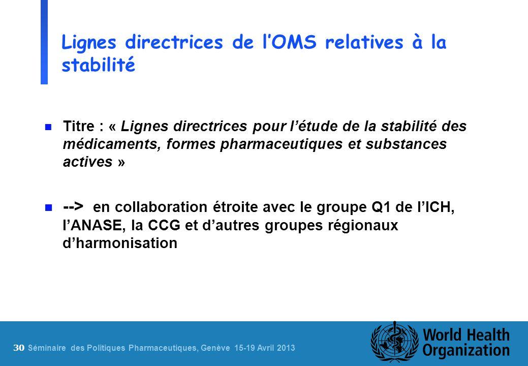 30 S éminaire des Politiques Pharmaceutiques, Genève 15-19 Avril 2013 Lignes directrices de lOMS relatives à la stabilité n Titre : « Lignes directric