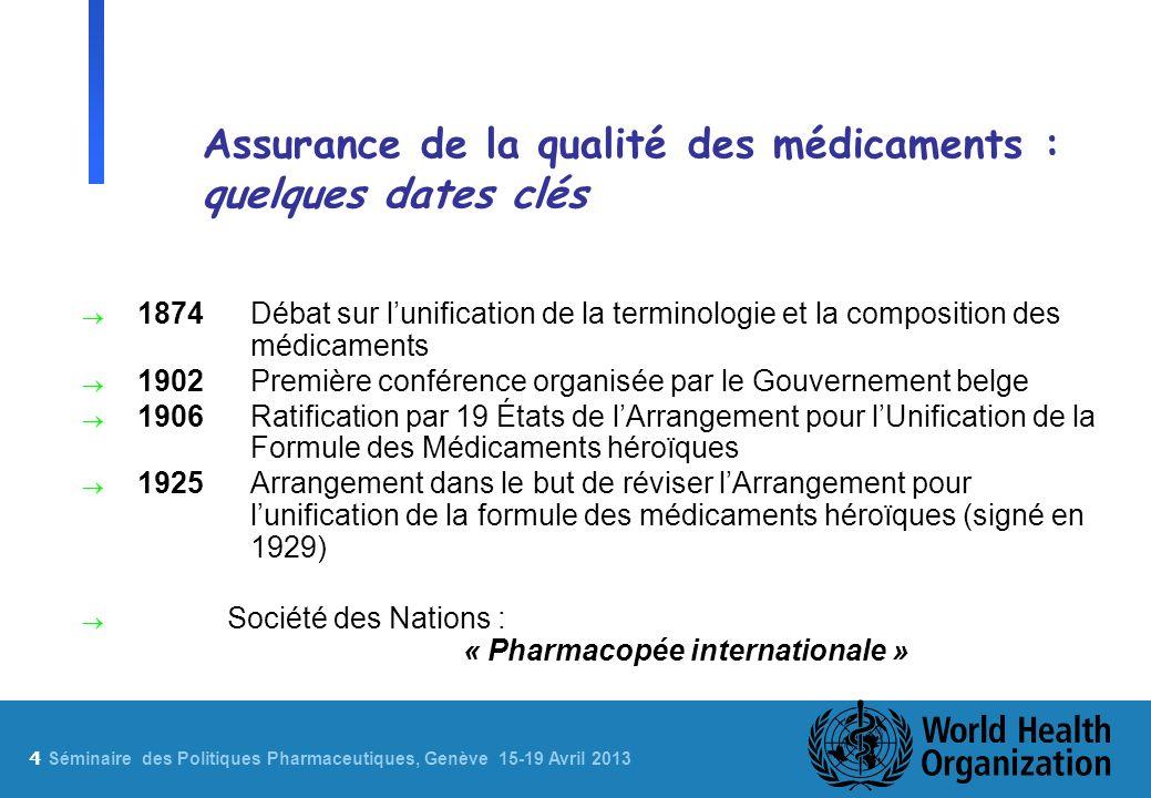4 Sé minaire des Politiques Pharmaceutiques, Genève 15-19 Avril 2013 Assurance de la qualité des médicaments : quelques dates clés 1874Débat sur lunif