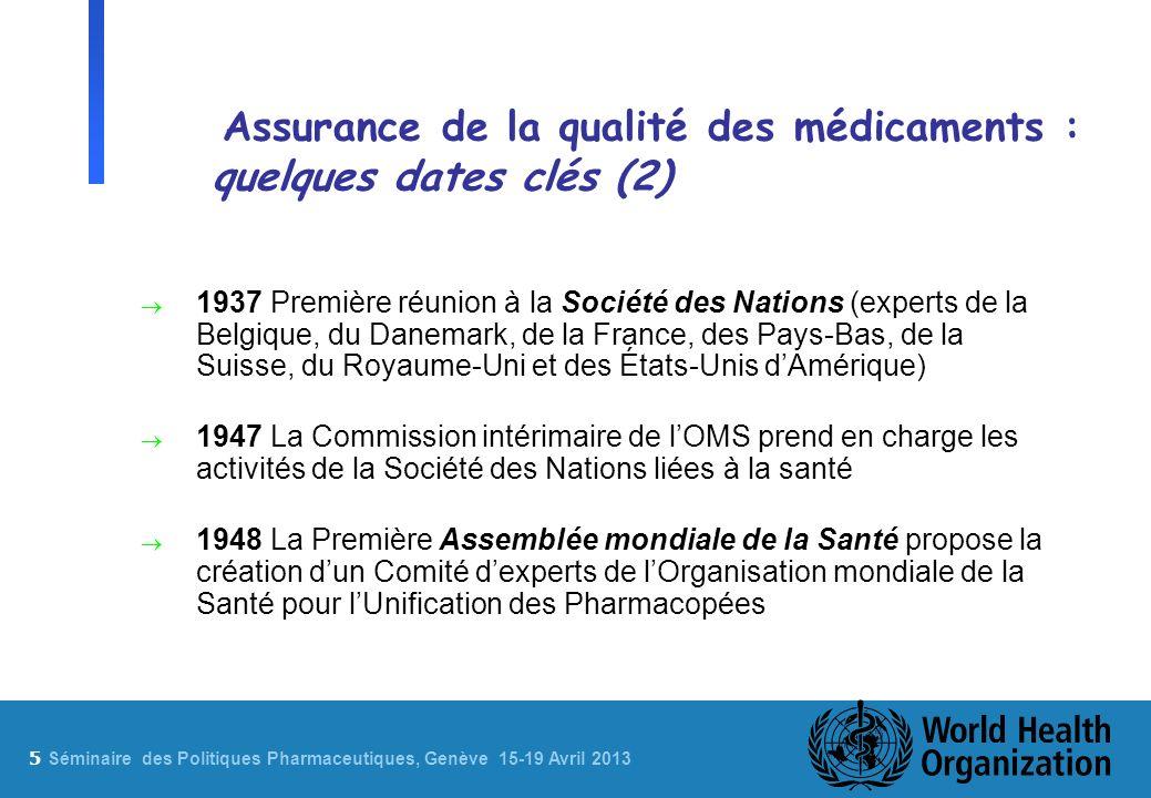 5 Sé minaire des Politiques Pharmaceutiques, Genève 15-19 Avril 2013 Assurance de la qualité des médicaments : quelques dates clés (2) 1937 Première r