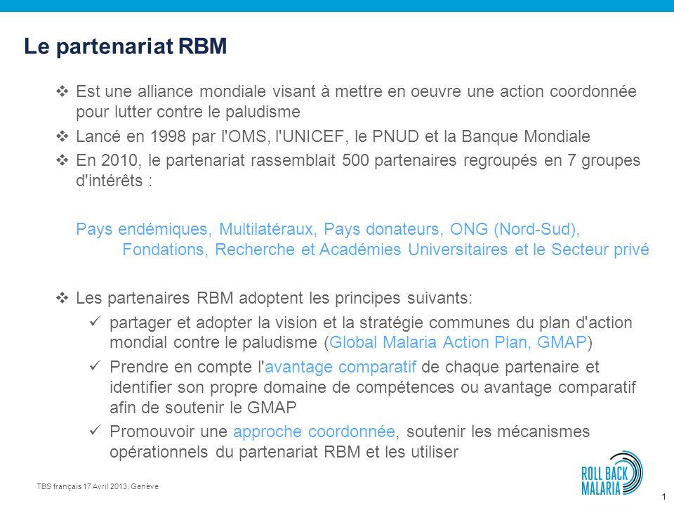 Partenariat Roll Back Malaria (RBM) Faire reculer le paludisme TBS français, 17 avril 2013, Genève Dr Magali Babaley, Conseiller Unité Appui à la chaî