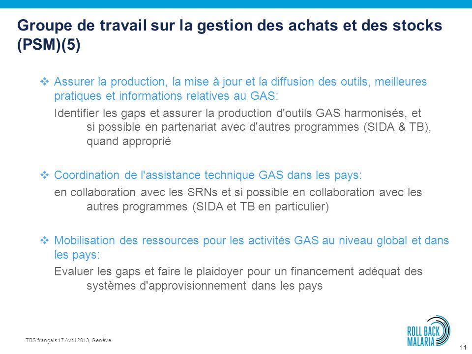 10 TBS français 17 Avril 2013, Genève Groupe de travail sur la gestion des achats et des stocks (PSM)(4) Assurance qualité et contrôle qualité: Des an