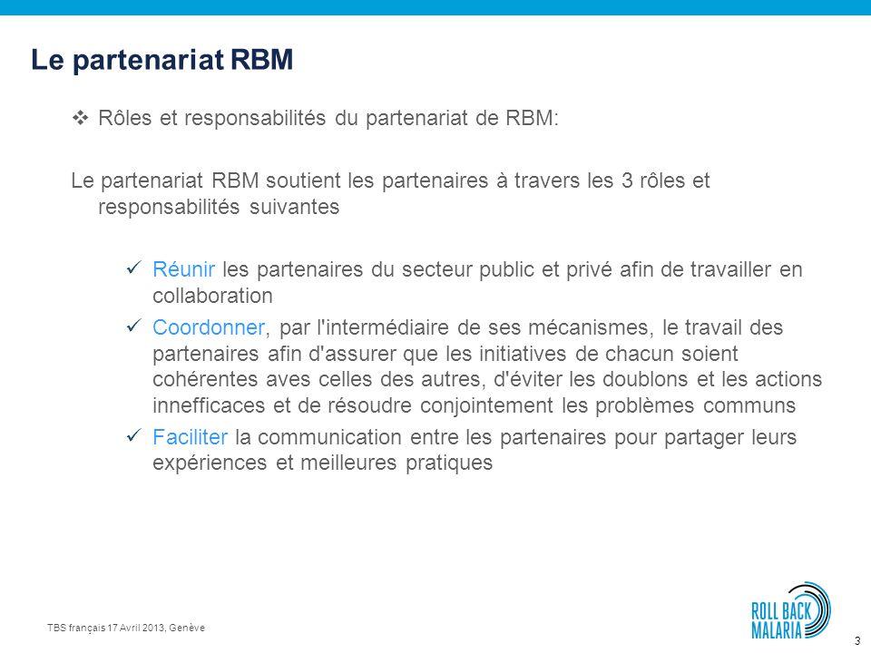 3 TBS français 17 Avril 2013, Genève Rôles et responsabilités du partenariat de RBM: Le partenariat RBM soutient les partenaires à travers les 3 rôles et responsabilités suivantes Réunir les partenaires du secteur public et privé afin de travailler en collaboration Coordonner, par l intermédiaire de ses mécanismes, le travail des partenaires afin d assurer que les initiatives de chacun soient cohérentes aves celles des autres, d éviter les doublons et les actions innefficaces et de résoudre conjointement les problèmes communs Faciliter la communication entre les partenaires pour partager leurs expériences et meilleures pratiques Le partenariat RBM