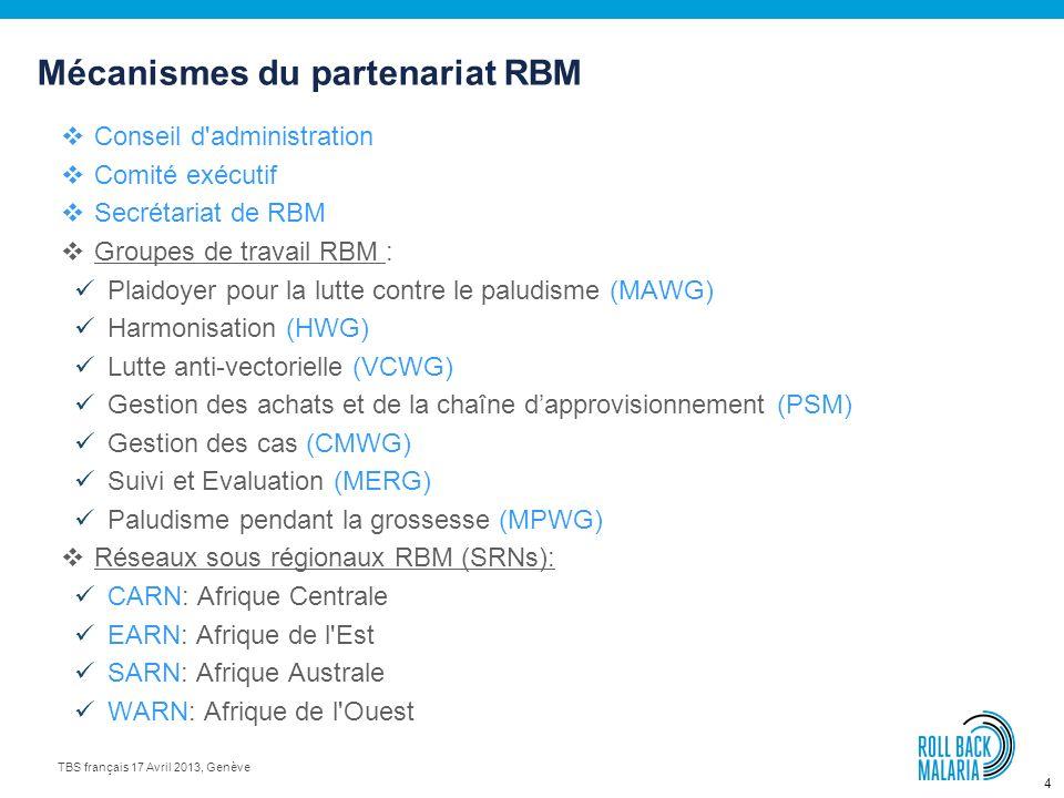 4 TBS français 17 Avril 2013, Genève Conseil d administration Comité exécutif Secrétariat de RBM Groupes de travail RBM : Plaidoyer pour la lutte contre le paludisme (MAWG) Harmonisation (HWG) Lutte anti-vectorielle (VCWG) Gestion des achats et de la chaîne dapprovisionnement (PSM) Gestion des cas (CMWG) Suivi et Evaluation (MERG) Paludisme pendant la grossesse (MPWG) Réseaux sous régionaux RBM (SRNs): CARN: Afrique Centrale EARN: Afrique de l Est SARN: Afrique Australe WARN: Afrique de l Ouest Mécanismes du partenariat RBM