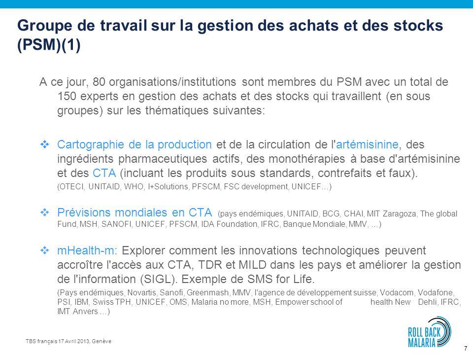 6 TBS français 17 Avril 2013, Genève Les produits utilisés dans la lutte contre le paludisme (2) Sources: (1) Global deliveries (Netmapping Project -