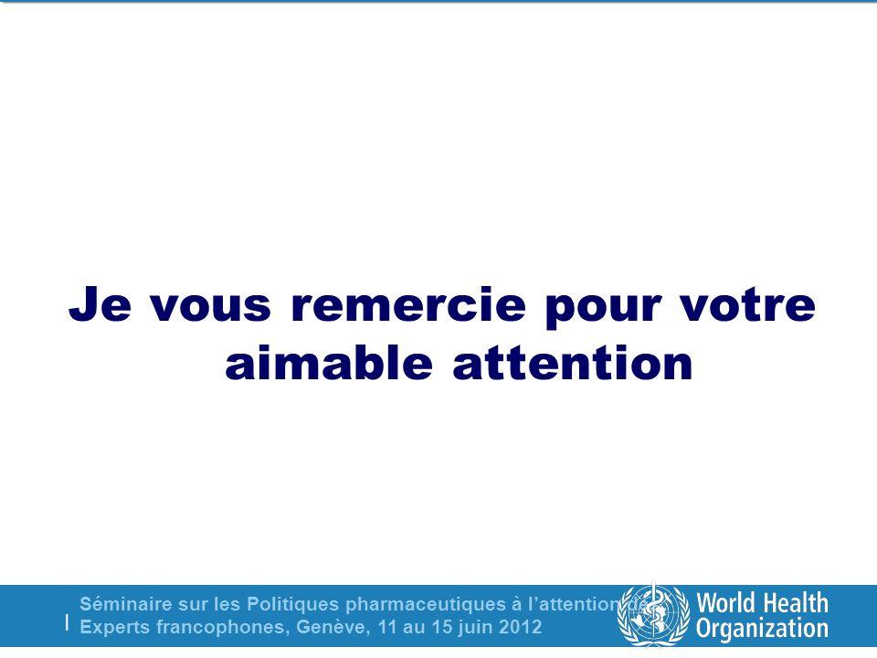 Séminaire sur les Politiques pharmaceutiques à lattention des Experts francophones, Genève, 11 au 15 juin 2012 | Je vous remercie pour votre aimable attention