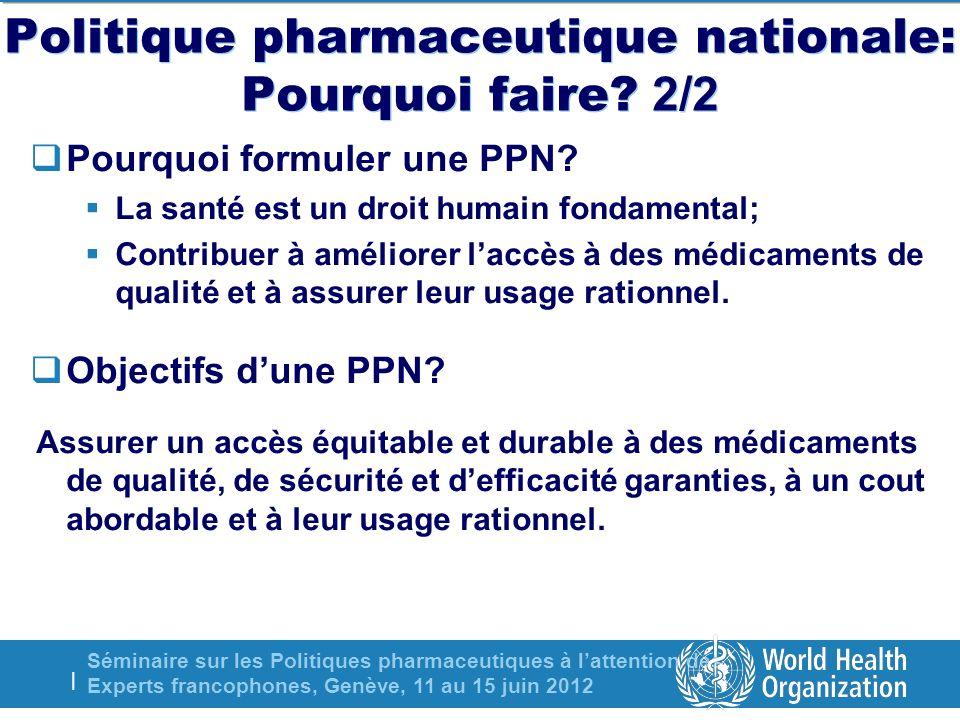 Séminaire sur les Politiques pharmaceutiques à lattention des Experts francophones, Genève, 11 au 15 juin 2012 | Politique pharmaceutique nationale: Pourquoi faire.