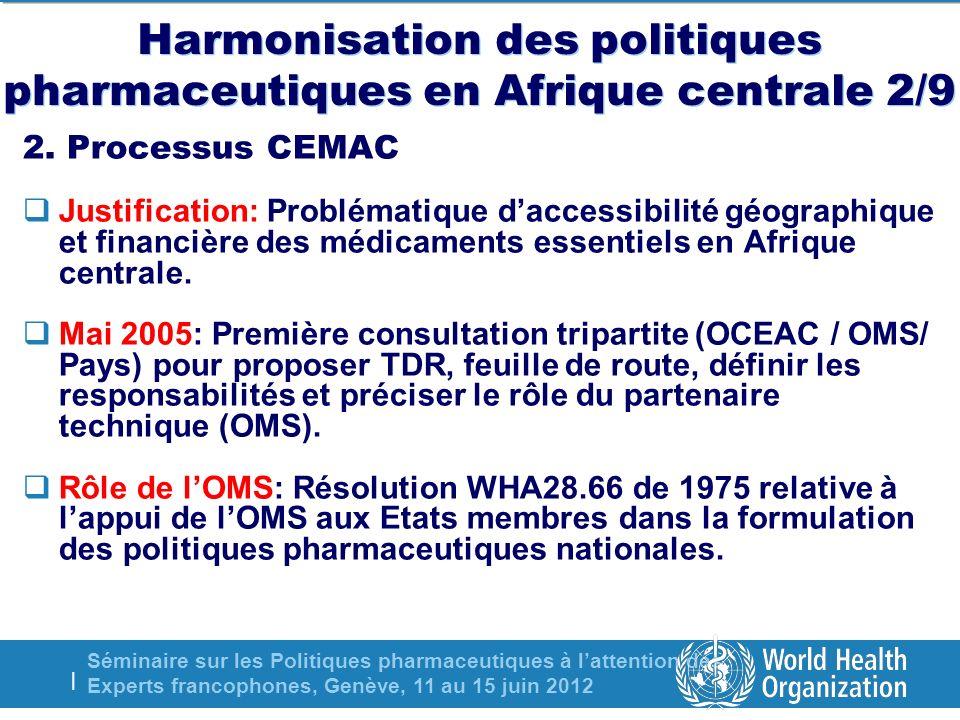 Séminaire sur les Politiques pharmaceutiques à lattention des Experts francophones, Genève, 11 au 15 juin 2012 | Harmonisation des politiques pharmaceutiques en Afrique centrale 2/9 2.