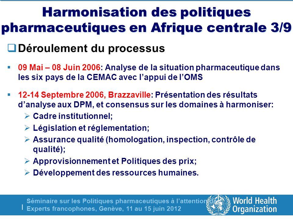 Séminaire sur les Politiques pharmaceutiques à lattention des Experts francophones, Genève, 11 au 15 juin 2012 | Harmonisation des politiques pharmaceutiques en Afrique centrale 3/9 Déroulement du processus 09 Mai – 08 Juin 2006: Analyse de la situation pharmaceutique dans les six pays de la CEMAC avec lappui de lOMS 12-14 Septembre 2006, Brazzaville: Présentation des résultats danalyse aux DPM, et consensus sur les domaines à harmoniser: Cadre institutionnel; Législation et réglementation; Assurance qualité (homologation, inspection, contrôle de qualité); Approvisionnement et Politiques des prix; Développement des ressources humaines.