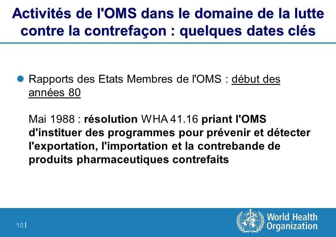 10 | Activités de l'OMS dans le domaine de la lutte contre la contrefaçon : quelques dates clés Rapports des Etats Membres de l'OMS : début des années