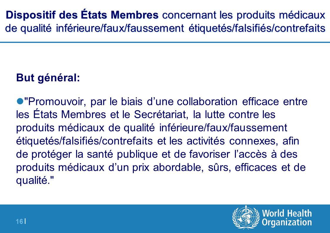 16 | Dispositif des États Membres concernant les produits médicaux de qualité inférieure/faux/faussement étiquetés/falsifiés/contrefaits But général: