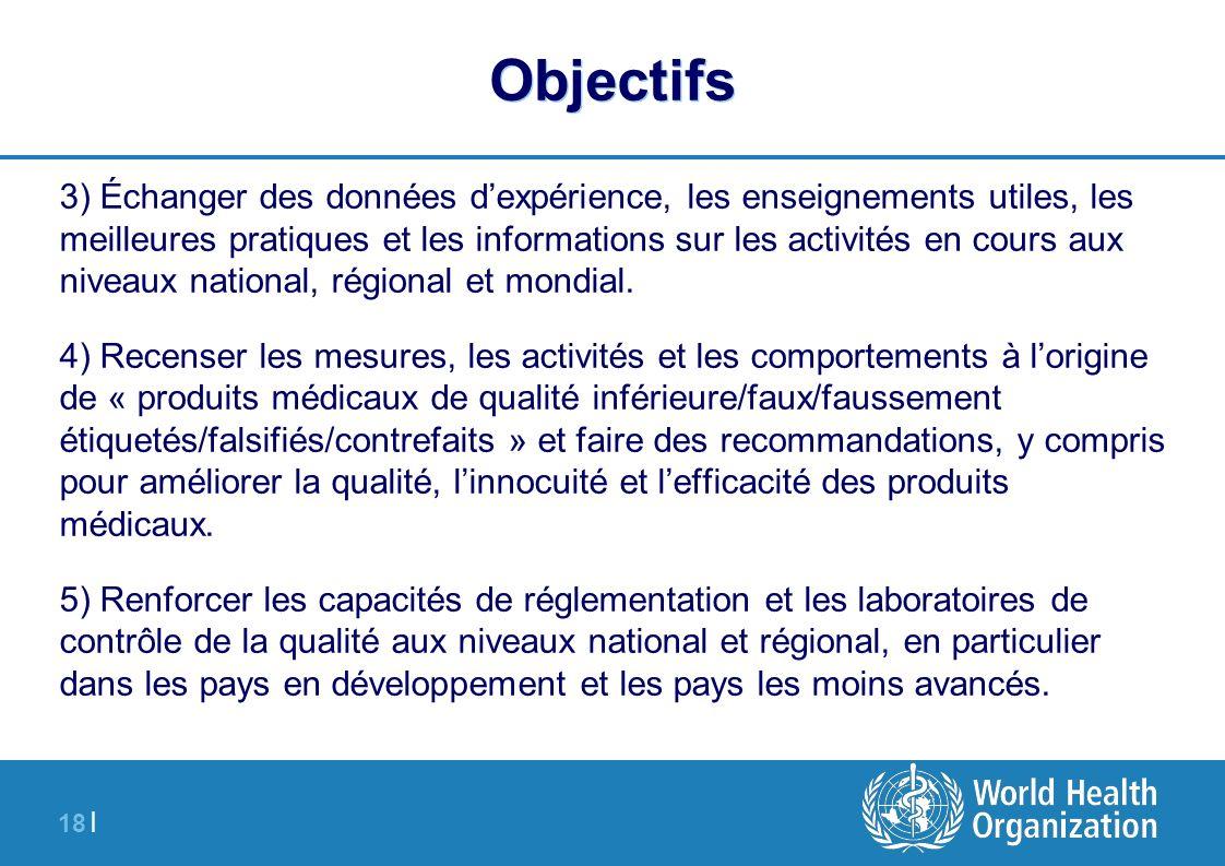 18 | Objectifs 3) Échanger des données dexpérience, les enseignements utiles, les meilleures pratiques et les informations sur les activités en cours