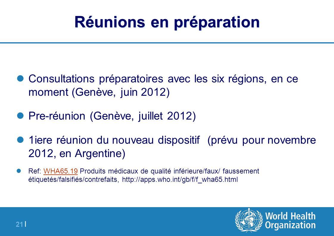 21 | Réunions en préparation Consultations préparatoires avec les six régions, en ce moment (Genève, juin 2012) Pre-réunion (Genève, juillet 2012) 1ie