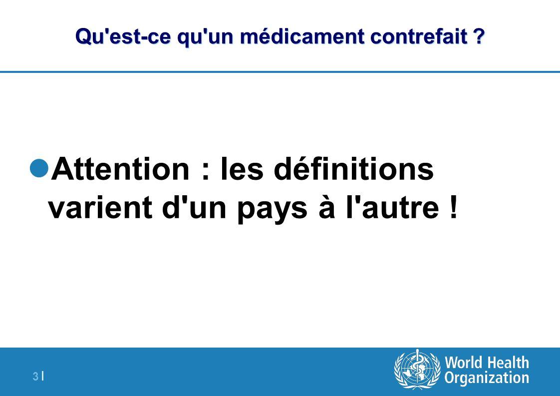 3 |3 | Qu'est-ce qu'un médicament contrefait ? Attention : les définitions varient d'un pays à l'autre !