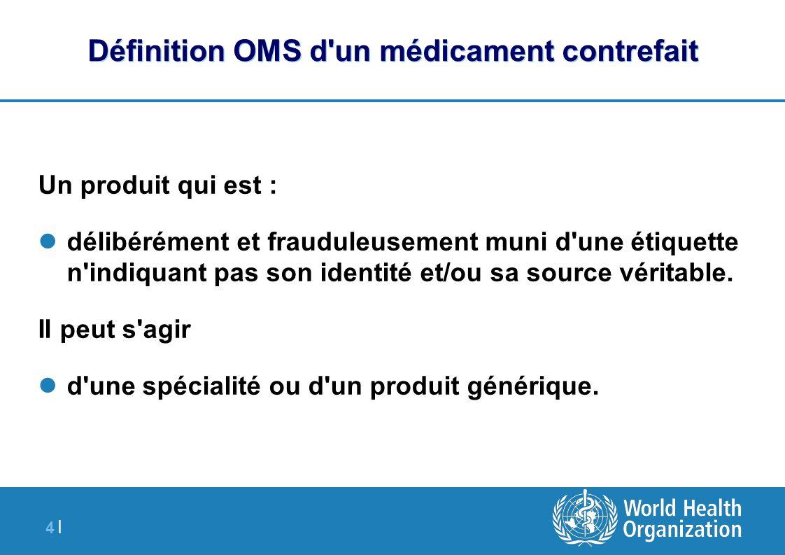 4 |4 | Définition OMS d'un médicament contrefait Un produit qui est : délibérément et frauduleusement muni d'une étiquette n'indiquant pas son identit