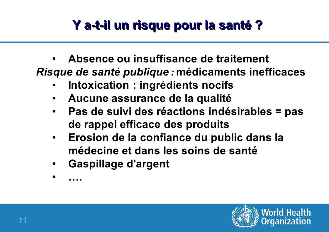 7 |7 | Y a-t-il un risque pour la santé ? Absence ou insuffisance de traitement Risque de santé publique : médicaments inefficaces Intoxication : ingr