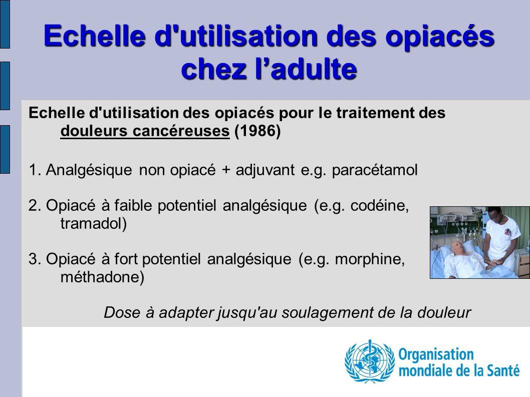 Echelle d'utilisation des opiacés pour le traitement des douleurs cancéreuses (1986) 1. Analgésique non opiacé + adjuvant e.g. paracétamol 2. Opiacé à