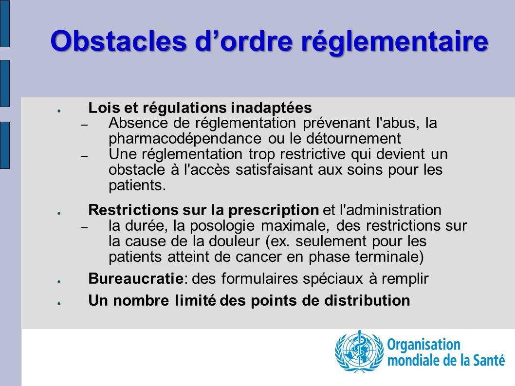 Obstacles dordre réglementaire Lois et régulations inadaptées – Absence de réglementation prévenant l'abus, la pharmacodépendance ou le détournement –