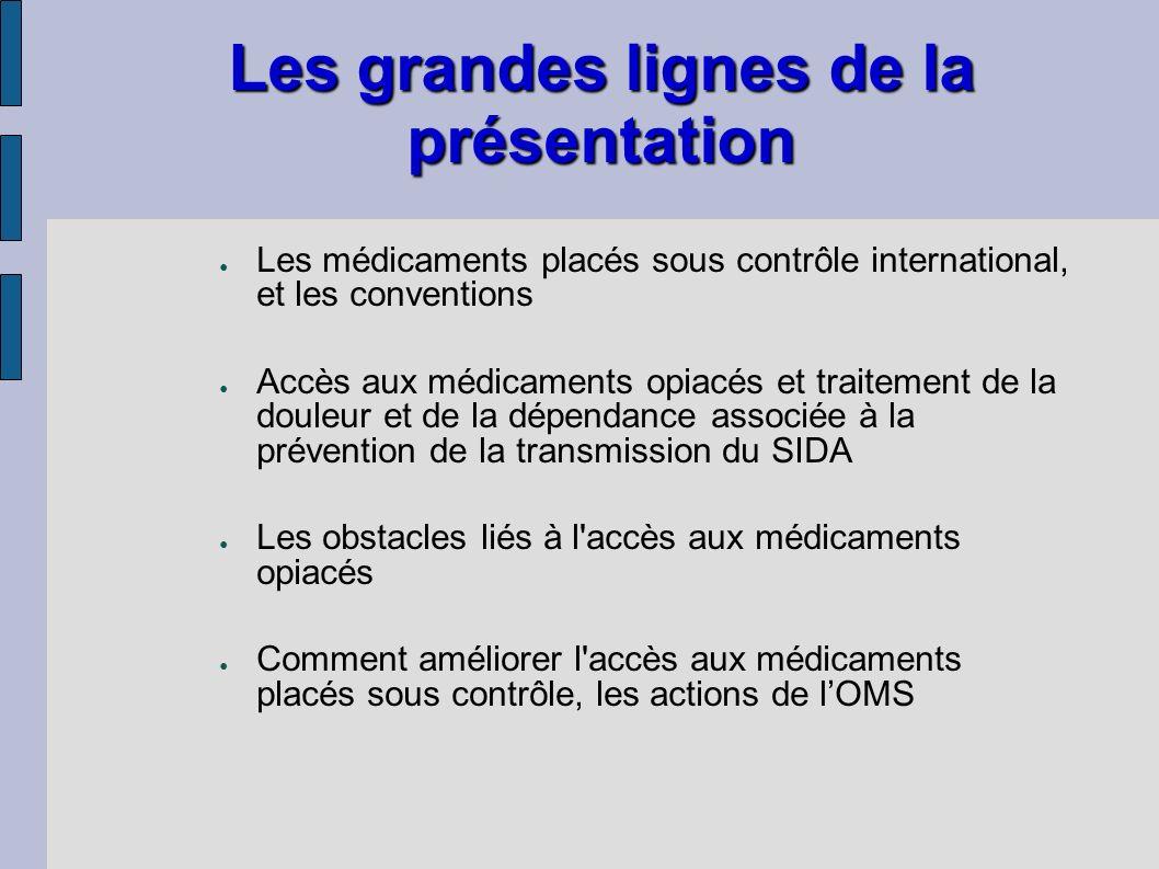 Les grandes lignes de la présentation Les médicaments placés sous contrôle international, et les conventions Accès aux médicaments opiacés et traiteme