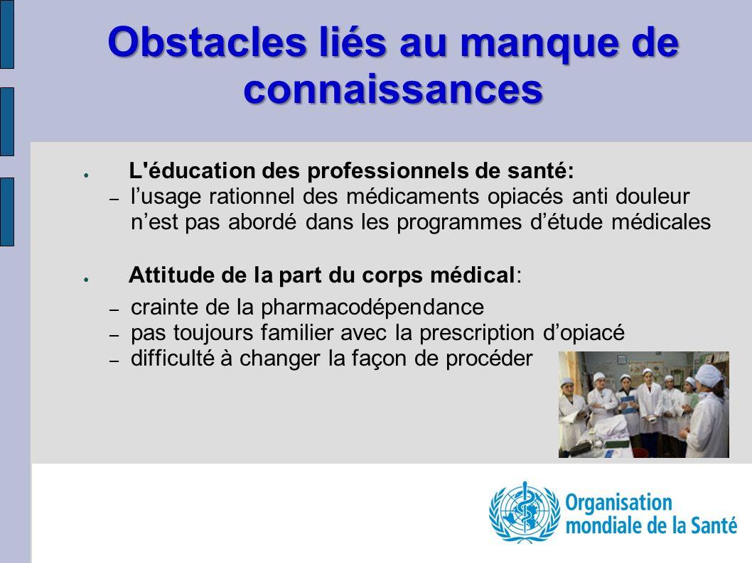 Obstacles liés au manque de connaissances L'éducation des professionnels de santé: – lusage rationnel des médicaments opiacés anti douleur nest pas ab