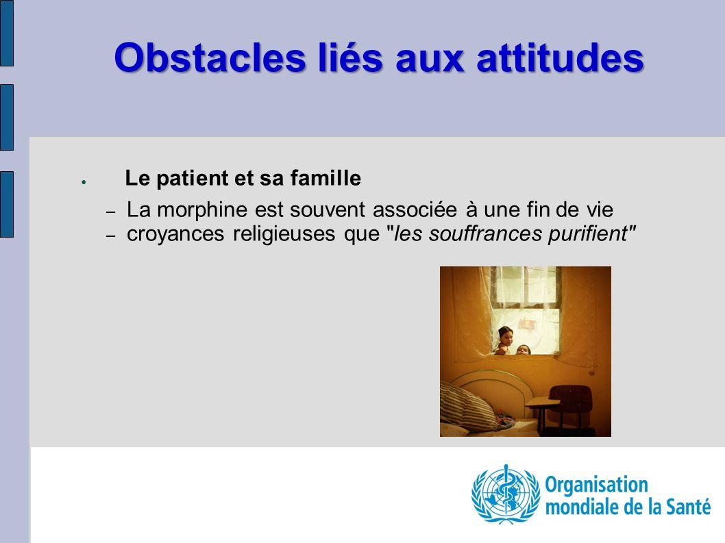 Obstacles liés aux attitudes Le patient et sa famille – La morphine est souvent associée à une fin de vie – croyances religieuses que