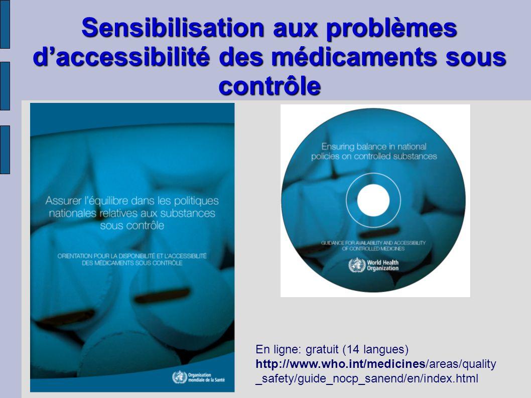 Sensibilisation aux problèmes daccessibilité des médicaments sous contrôle En ligne: gratuit (14 langues) http://www.who.int/medicines/areas/quality _