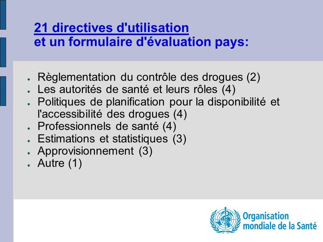 Règlementation du contrôle des drogues (2) Les autorités de santé et leurs rôles (4) Politiques de planification pour la disponibilité et l'accessibil